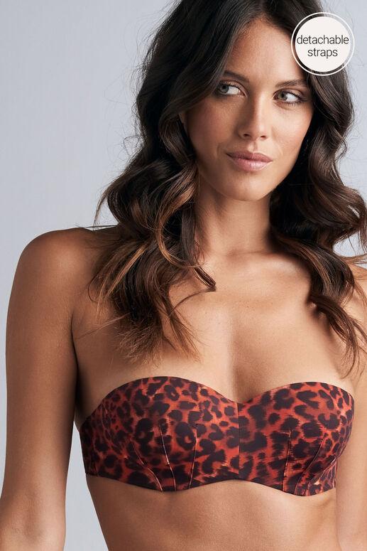 panthera haut de bikini sans bretelles