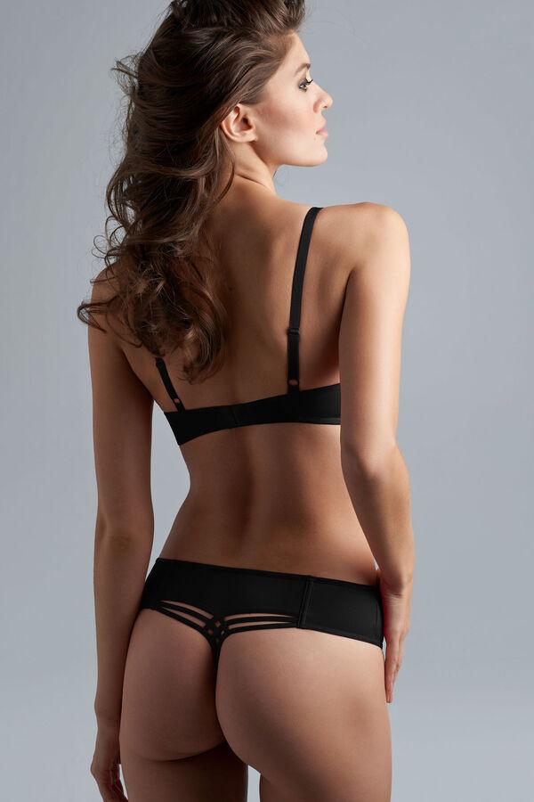 Dame de paris balcony bra + 12cm brazilian shorts black