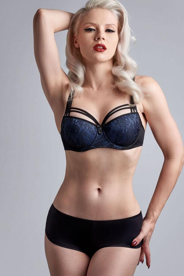 dame de paris balconnet soutien-gorge + dame de paris 12 cm shorties brésiliens bijou blue