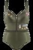 Ga voor Amelia Earharts unieke stijl met deze prachtige, militair-groene body. Deze edgy body heeft opvallende patches, afneembare, op een bomberjack geïnspireerde mouwen en een verleidelijke rits op je decolleté. De cups bevatten padding en een beugel voor extra ondersteuning, wat leidt tot een bescheiden decolleté. De geribbelde band rond de taille accentueert je mooie rondingen. Deze gevechtsklare combinatie van glanzende saliegroene stof met feloranje voering geeft je zelfvertrouwen een boost. Met deze prachtige donkergroene body kun je de hele wereld aan.
