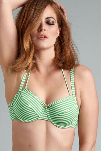 With this gorgeous green ivory bikini top you're ready for some palm trees and ocean breeze. A uniquely striped green and ivory pattern celebrates your female curves and timeless beauty. Padding gives you extra support. Wires enclosing the breasts partially create a deep décolleté. Choose this green with ivory striped bikini top for a delightful revealing look.