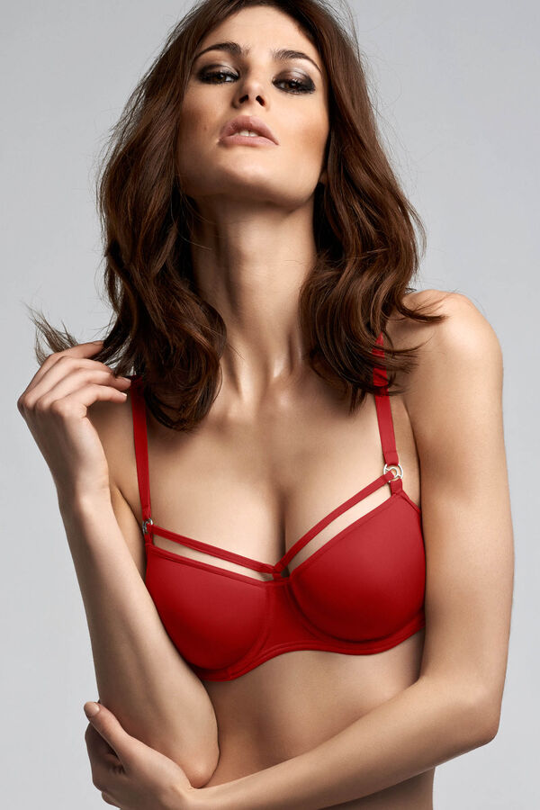 space odyssey balcony bra + thong red