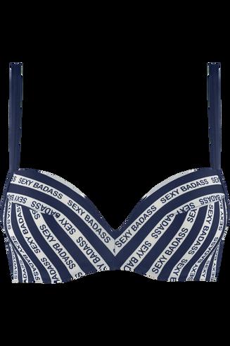 sexy badass push up bikini top | wired padded blue and white - 32d