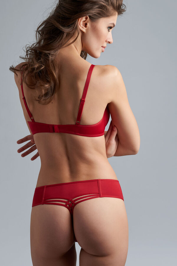 Dame de paris plunge bra + 7cm thong red