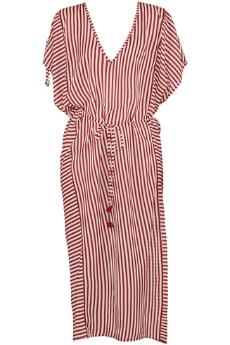 holi vintage kaftan |  red-ecru - one size