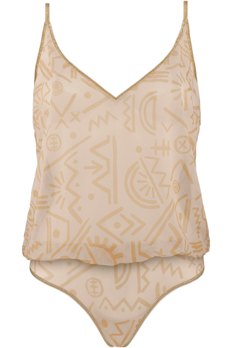 golden karo body top | unwired unpadded egyptian gold and ivory - l