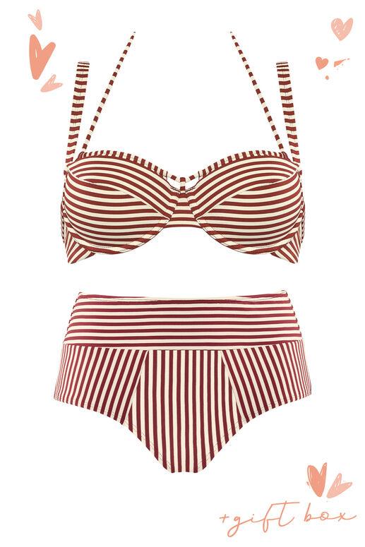 plunge balcony bikini top + high waist bikini briefs