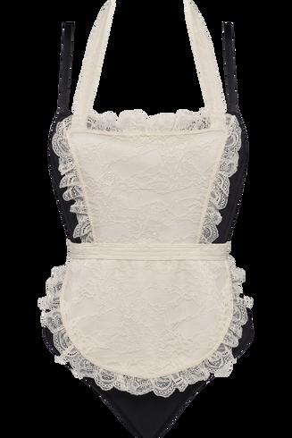déesse de la cuisine balconnet plongeant body | wired padded black and ivory - M