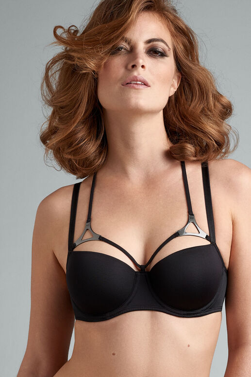 Upgrade your lingerie collection with this black balcony bra. The unique straps that decorate the cups are finished with beautiful silver triangle details. Extra straps were added on the back and add a cross-shape.  The padding of this black bra gives you extra support, and wires enclosing the entire breast create a modest cleavage. Be as stylish as you've always wanted to be in this triangle black gunmetal bra.