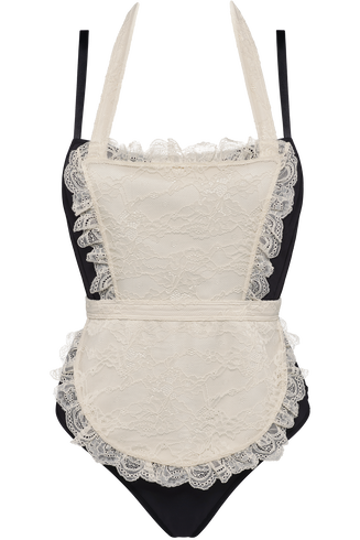 déesse de la cuisine plunge balconette body  wired padded black and ivory  L