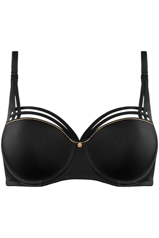 dame de paris balconette bh  wired padded black with gold