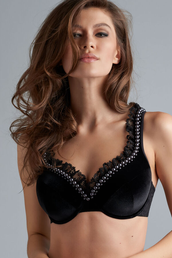 queen of pearls plunge bra