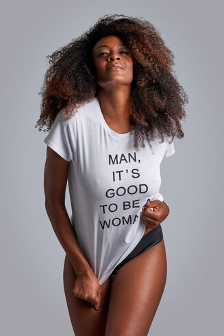 Women's Day tshirt top  white  L
