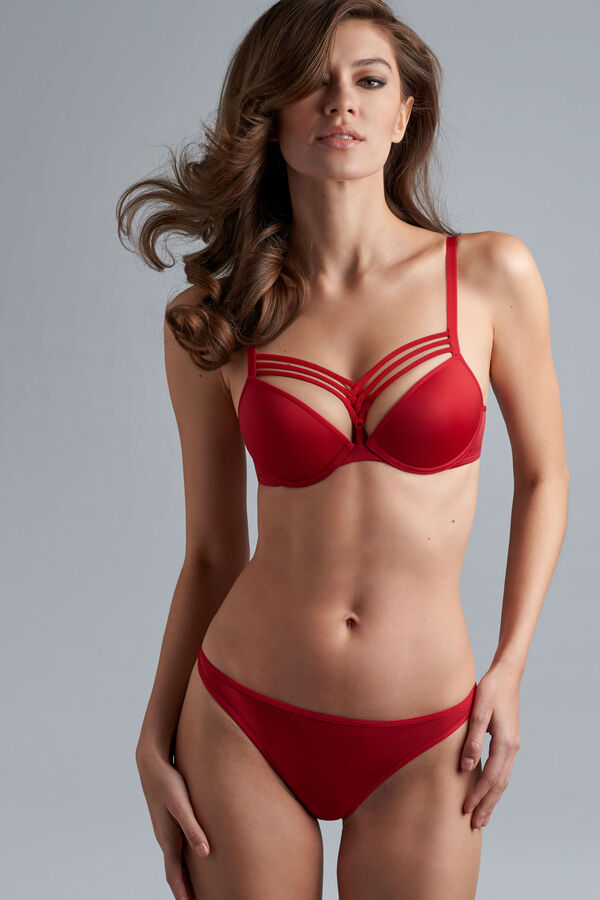 dame de paris plunge bra + 12cm brazilian shorts red