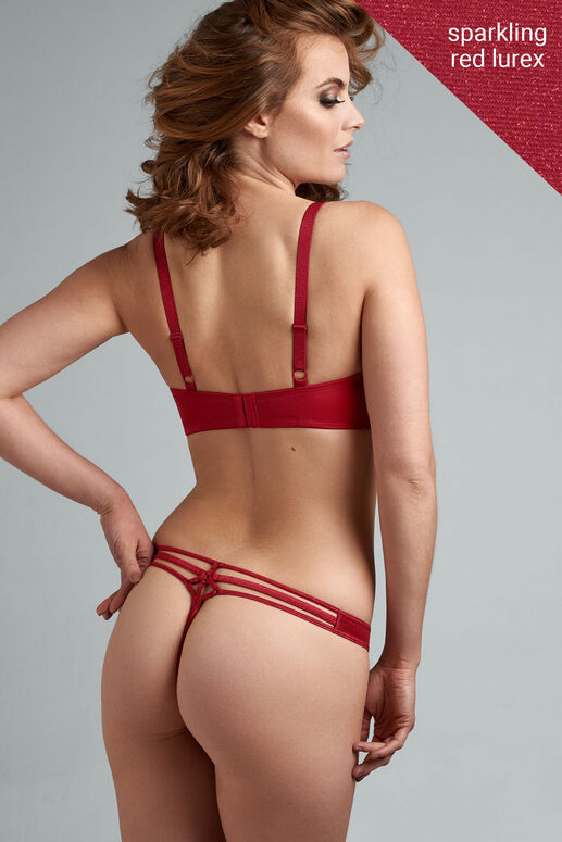 Go for a sleek, unique look with the Sparkling  dazzling red Mesh thong. The shimmering fabric feels incredibly soft on your skin with  red glittery piping as a finishing touch. Your hips and buttons are partially covered. Add sparkle to your curves with this cheerful colored thong.
