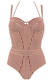 holi vintage red ecru plunge balcony bathingsuit